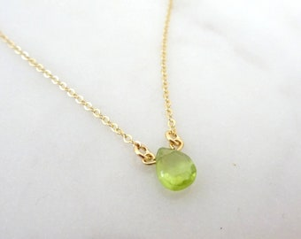 Peridot Necklace, August Birthstone jewelry, Gold Peridot Necklace, August Birthday Dainty Necklace, 14k gold filled, Gift for her
