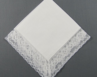 White Lace on White Cotton for a  Summer WEDDING Vintage Hankie Handkerchief