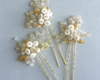 A set of 3 Baby's Breath Hair Pins, Bridal Hair Pins, Botanical Hair pins, Twigs, White Flower Pins