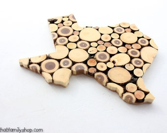YOUR STATE Plaque, Unique Log End Cutout Slice Wall Display, 5th Anniversary Gift, Texas, California Closing Gift