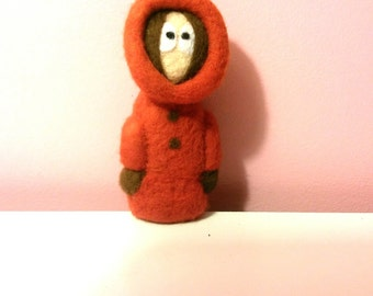 needle felted, South park character, Kenny south park, cartoon needle felted, needle felted character, Kenny felted,South park cartoon.