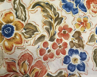 """Vintage omega textile multicolor floral rayon fabric 2 yards 60"""" wide VF2"""
