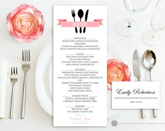 Greenery Wedding Menu Template Green Forest Wedding Menu - Menu place cards template