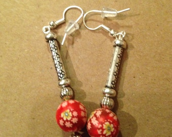 Clay bead and silver ear rings