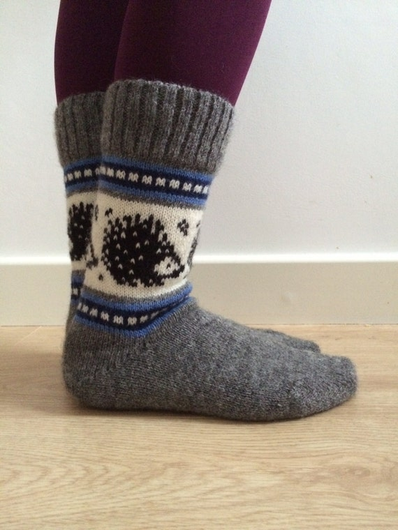 READY TO SHIP White Grey Wool Socks Grey Rabbit Bunny Hare Fairisle Winter Christmas Scandinavian Norwegian Nordic Esx40oTmlK