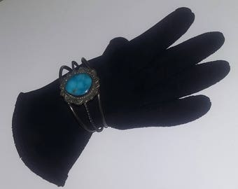 True Vintage Old Pawn Silver Turquoise Bracelet Native American Navajo Bench Made