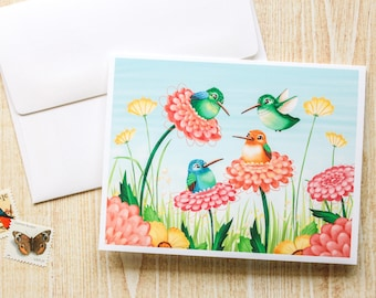 Humming Birds, Dahlia Flowers Greeting Card, Blank Card - Cute Card - Animal Card - Just Because - Any Occasion - Illustrated