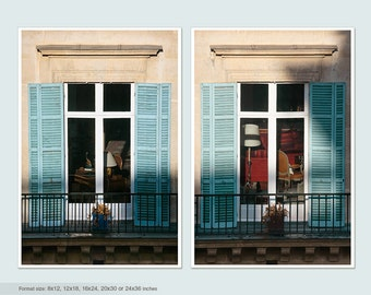 Set of 2 prints, Paris Window photography, French decor living room wall art set Paris Teal oversized art 16x24, 20x30, vertical poster