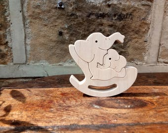 Wooden Mother and Baby Elephants Ornament