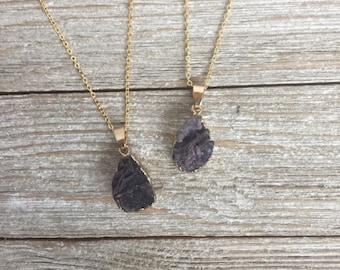 Purple Druzy Necklace Druzy Pendant Gold Edged Druzy Agate Drusy Necklace Electroplated Druzy Stone Druzy Jewelry Gemstone Necklace