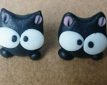 Earrings little cute black cat