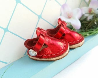 Mini Metallic Red Leather Mary Jane T-Strap Shoes For Blythe Dolls Lati Yellow Pukifee Azone Pureneemo M S Body