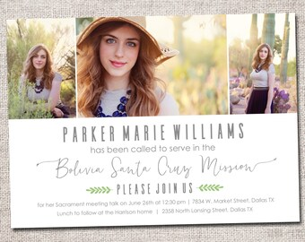 LDS Missionary, Missionary farewell invitation, Elder, Sister missionary: Printable (Called to Serve Missionary farewell invitation 3 photo)