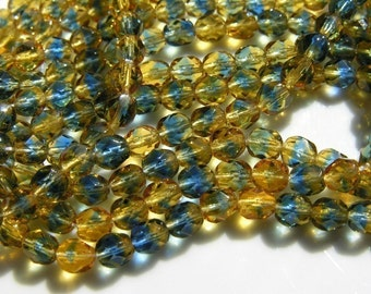 Topaz and Montana Blue 6mm Fire Polish Round Beads  ONE STRAND