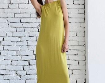 SALE Mustard Maxi Dress/Long Loose Kaftan/Asymmetric Oversize Tunic/Casual Dress/Extravagant Beautiful Dress/Flat Front Dress/Easy to Wear D