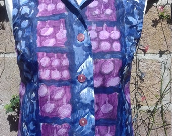 French sixties 1950's  polyester pink purple and grey sleeveless blouse