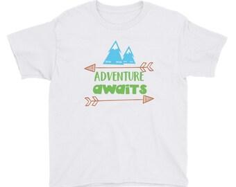 Adventure Awaits Namaste Mountains Camping Hiking Outdoors Youth Short Sleeve T-Shirt