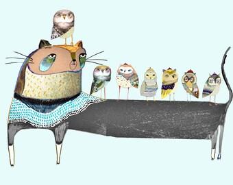 Beautiful Cat and Owls. childrens wall art - kids prints - cat art - nursery decor - cat illustration - cat art print.