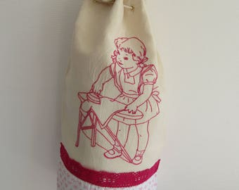 """Ecru cotton laundry bag, lace fuschia and hand embroidered """"girl with iron rose"""""""