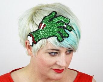 Zombie Hand Headband, Glitter Hair Accessory