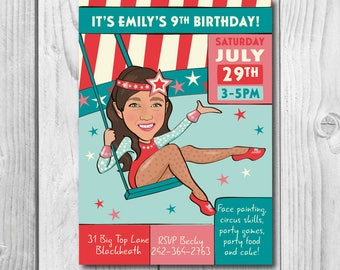 Girl's Trapeze Circus Birthday Party Invitation -  Illustrated from your photo DIGITAL FILE