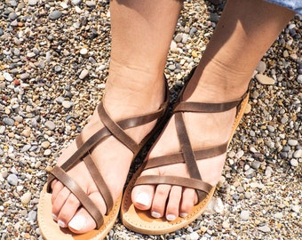 Brown leather sandals women Greek leather sandals Ankle strap summer shoes PAXIA