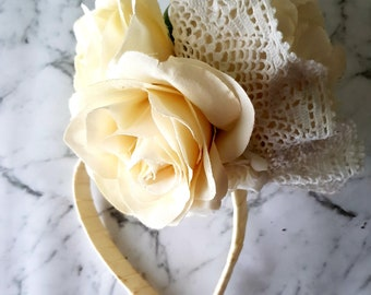 Vintage lace and White rose fascinator