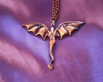 Flying Dragon Necklace, Pendant, Pewter, Copper Coloured