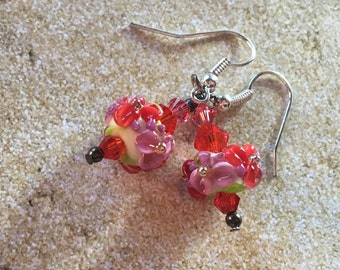 SRA  Lampwork Jewelry, SRA Lampwork Earrings,Flower Lampwork,Red and Pink  Flowers, Lampwork Jewelry, Gift For Her