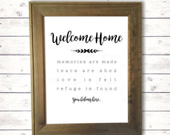 "Welcome Home You Belong Here sign 8.5x11"" instant digital download farmhouse style sign"