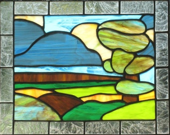 Stained Glass Window Panel Green Blue Landscape Handmade