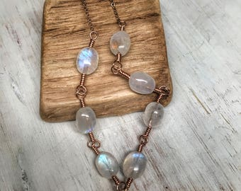 Rose gold moonstone necklace - long rainbow moon stone linked necklace - blue moonstone jewelry