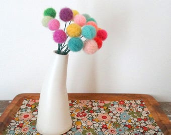 White Pottery Vase with Pom Pom Flowers.  Multi-colored Felt Flower Centerpiece.  Modern, Curved Vase.  Craspedia, Billy Button Bouquet.