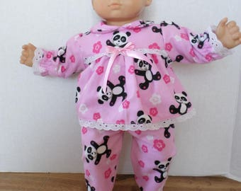 Pink panda bear flannel pajamas American made to fit 15 inch Bitty Baby dolls.