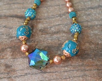 Turquoise boho necklace Eclectic chunky necklace Embellished big bold bead necklace Colorful Bohemian jewelry