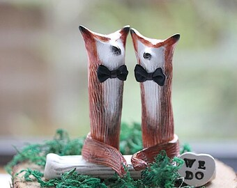 Red Brown Fox Cake topper -Clay Foxes - Red Fox -Woodland Cake Topper - Rustic Wedding Cake Topper -Fox Cake Topper -Custom Order