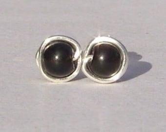 Tiny Black Obsidian Stud Earrings (5mm), Gemstone Stud Earrings, Wire Wrapped Sterling Silver Stud Earrings, Little Black Stud Earrings