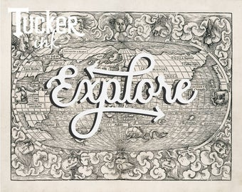Custom Lettered World Map {vintage antique gift travel hand lettered explore}