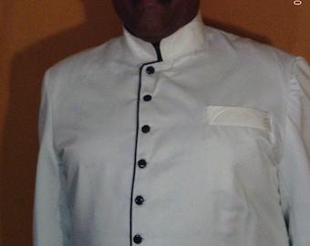 Custom Made White  White 3pc NuRu Clergy Preaching suit. Handmade w Dull Satin Gaberdine, White Clergy Brocade Jacquard and Navy Accents