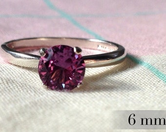 6mm Alexandrite Ring, Color Change Alexandrite Engagement Ring, Sterling Promise Ring, Silver Wedding Ring, Abish Jewelry Works