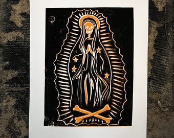 Our Lady of Guadeloupe lino print