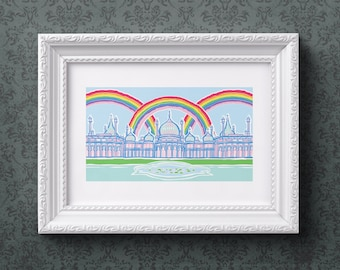 Royal Pavilion Rainbows - Brighton & Hove vibrant giclée art print for the Brighton lover, made with bright pride rainbow colours