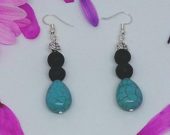 Lava Rock Bead & Turquoise Leaf Earrings - Diffuser Earrings