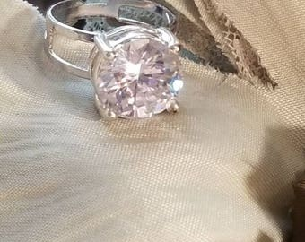EXQUISITE, Large Solitaire Ring, Silver Plated, Adjustable Band, Clear CZ, Brilliant Ring, Single Stone, Silver Plated Ring,