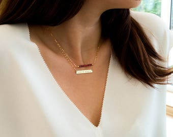 Gold Bar Necklace, Initial Bar, Nameplate bar, Name necklace, Valentines day, Horizontal bar pendant, Monogrammed bar, Gift for her