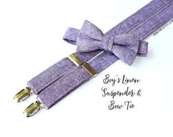 Boys Linen Suspenders~Eggplant Linen~Wedding Suspenders~Wedding Accessory~Boys Linen Bow Tie~Boys Linen Suspenders~Boys Suspender Set