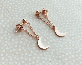 To The Moon & Back Earrings, Front-back earrings, Moon Studs, Crescent Moon Earrings, Rose Gold