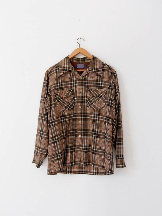 Pendleton Plaid Shirt - Vintage 70s Pendleton Plaid Button Down Shirt - Ladies Size Small Outdoorsy Traditional Hunting Shirt - f4o5ve