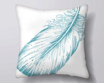 Blue Feather -Cushion Cover Case Or Stuffed With Insert