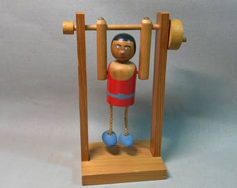 Wood Swinging Gymnast Toy Made in East Germany